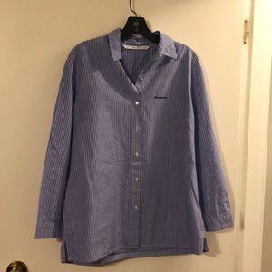 Zara Trafaluc collection blue/white stripe shirt